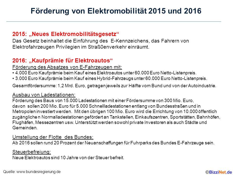 """2015: """"Neues Elektromobilitätsgesetz Das Gesetz beinhaltet die Einführung des E-Kennzeichens, das Fahrern von Elektrofahrzeugen Privilegien im Straß0enverkehr einräumt."""