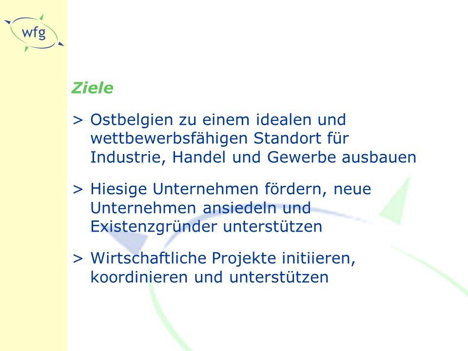 Ziele >Ostbelgien zu einem idealen und wettbewerbsfähigen Standort für Industrie, Handel und Gewerbe ausbauen >Hiesige Unternehmen fördern, neue Unternehmen ansiedeln und Existenzgründer unterstützen >Wirtschaftliche Projekte initiieren, koordinieren und unterstützen