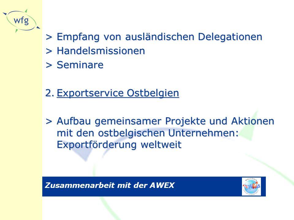Zusammenarbeit mit der AWEX >Empfang von ausländischen Delegationen >Handelsmissionen >Seminare 2.Exportservice Ostbelgien >Aufbau gemeinsamer Projekte und Aktionen mit den ostbelgischen Unternehmen: Exportförderung weltweit