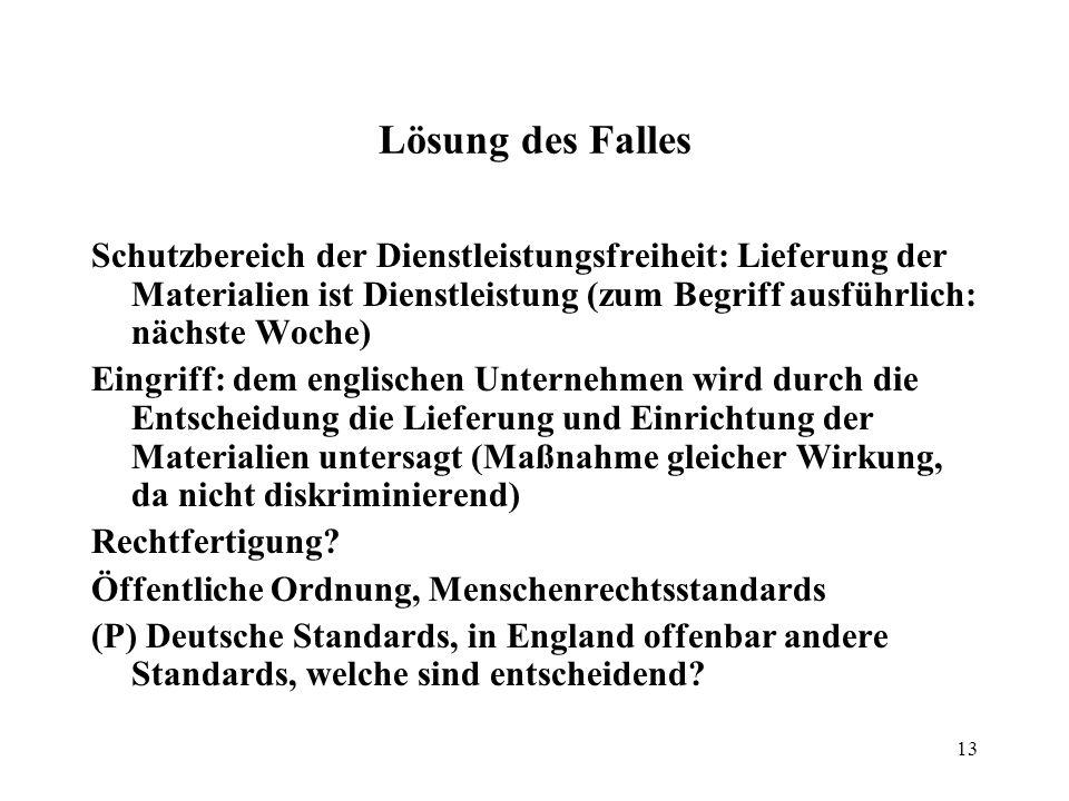 12 Beispielsfall Die Delta-GmbH will in einem Vorort von Hamburg ein Laserdrome betreiben. Die Stadt sieht darin eine Gefahr für die öffentliche Ordnu