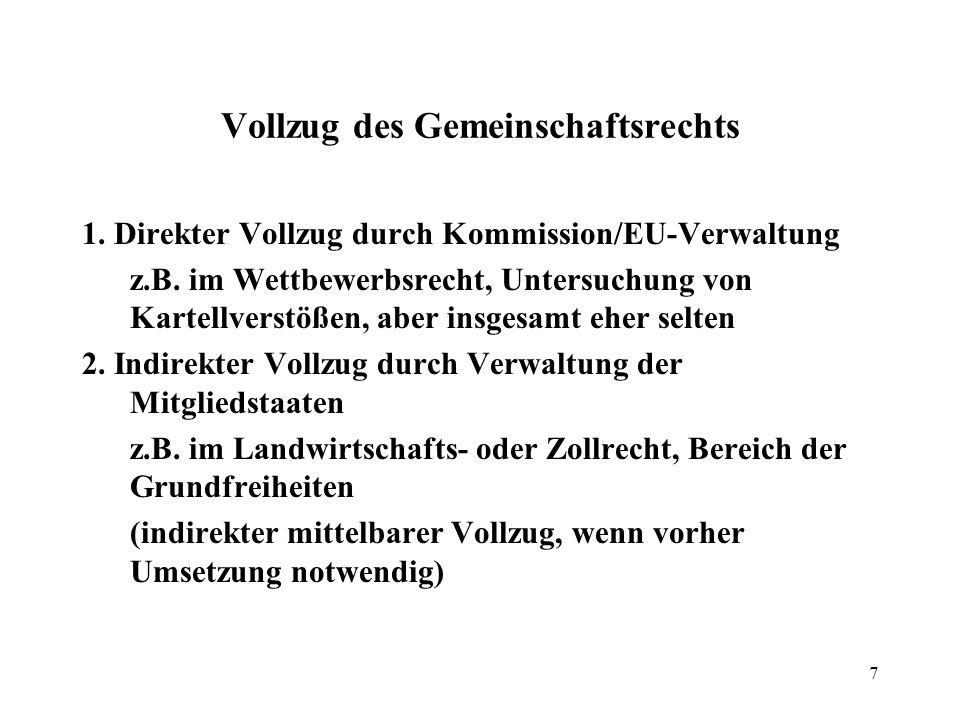 7 Vollzug des Gemeinschaftsrechts 1.Direkter Vollzug durch Kommission/EU-Verwaltung z.B.