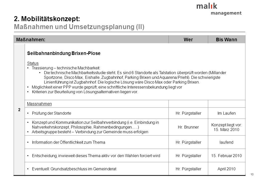 10© malik-mzsg Maßnahmen:WerBis Wann 2 Seilbahnanbindung Brixen-Plose Status Trassierung – technische Machbarkeit: Die technische Machbarkeitsstudie s