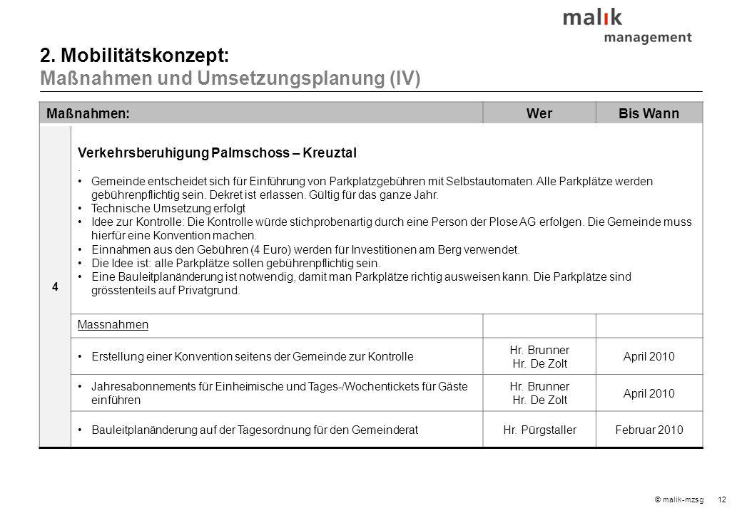12© malik-mzsg Maßnahmen:WerBis Wann 4 Verkehrsberuhigung Palmschoss – Kreuztal. Gemeinde entscheidet sich für Einführung von Parkplatzgebühren mit Se