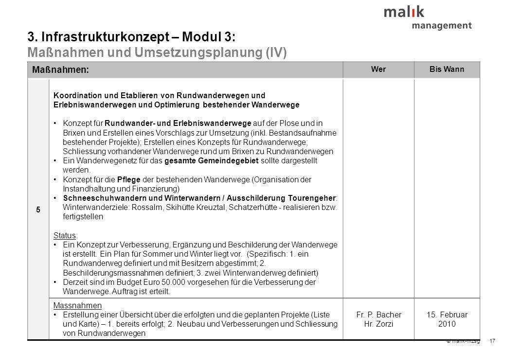 17© malik-mzsg Maßnahmen: WerBis Wann 5 Koordination und Etablieren von Rundwanderwegen und Erlebniswanderwegen und Optimierung bestehender Wanderwege