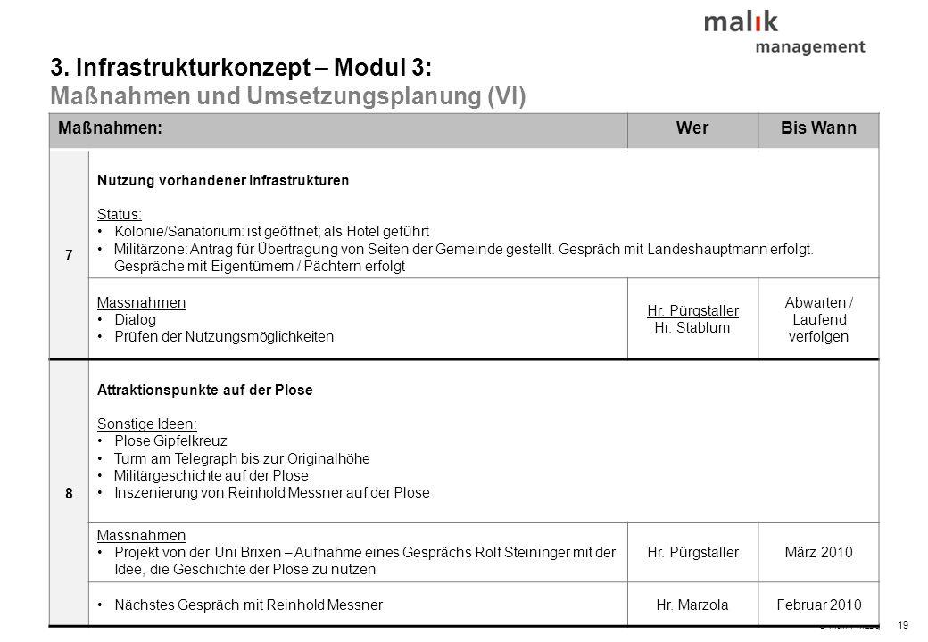 19© malik-mzsg Maßnahmen:WerBis Wann 7 Nutzung vorhandener Infrastrukturen Status: Kolonie/Sanatorium: ist geöffnet; als Hotel geführt Militärzone: An