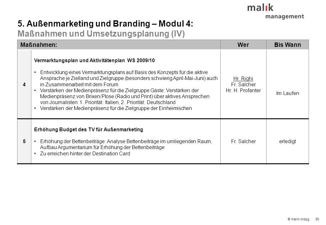 30© malik-mzsg Maßnahmen:WerBis Wann 4 Vermarktungsplan und Aktivitätenplan WS 2009/10 Entwicklung eines Vermarktungsplans auf Basis des Konzepts für