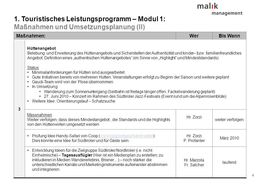 © malik-mzsg6 Maßnahmen:WerBis Wann 3 Hüttenangebot Belebung und Erweiterung des Hüttenangebots und Sicherstellen der Authentizität und kinder– bzw. f