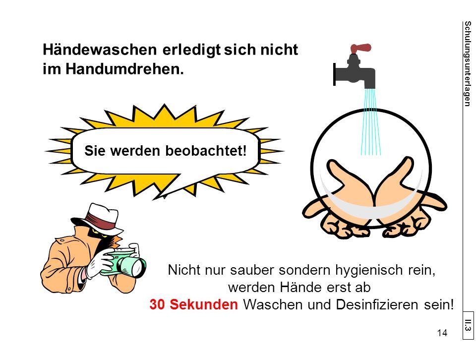 Händewaschen erledigt sich nicht im Handumdrehen.
