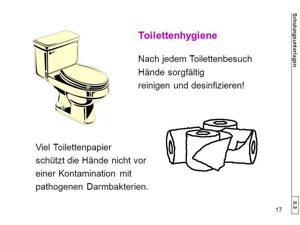 Toilettenhygiene Nach jedem Toilettenbesuch Hände sorgfältig reinigen und desinfizieren.