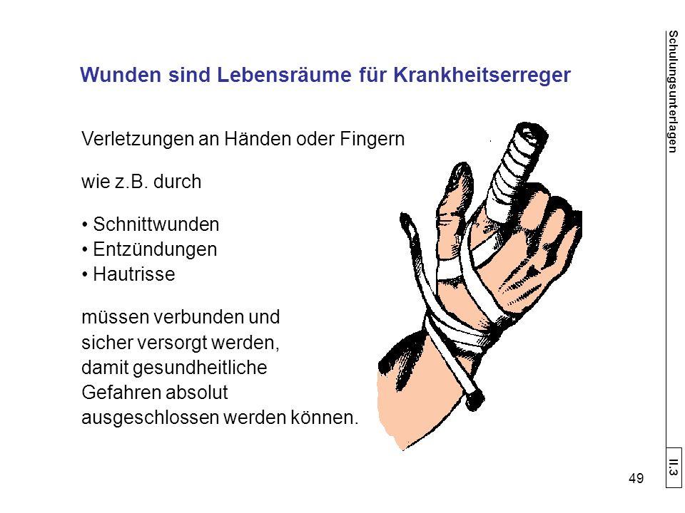 Verletzungen an Händen oder Fingern wie z.B.