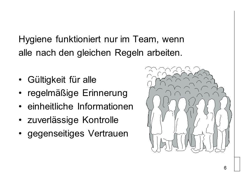 Hygiene funktioniert nur im Team, wenn alle nach den gleichen Regeln arbeiten.