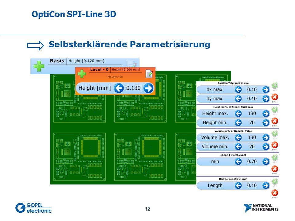 12 No. 12 Selbsterklärende Parametrisierung OptiCon SPI-Line 3D