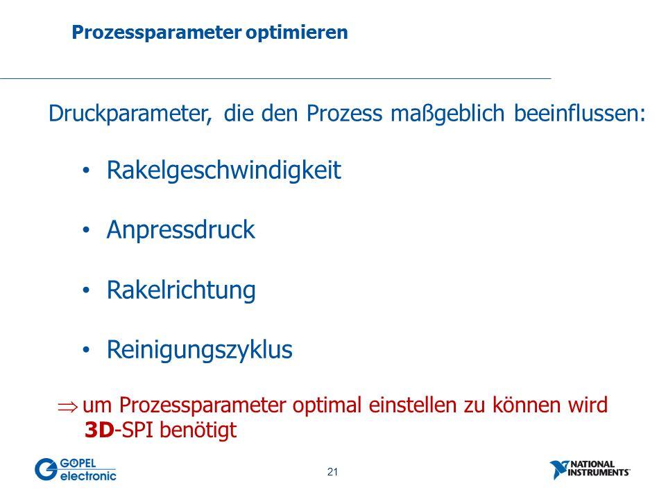 21 No. 21 Prozessparameter optimieren Druckparameter, die den Prozess maßgeblich beeinflussen: Rakelgeschwindigkeit Anpressdruck Rakelrichtung Reinigu