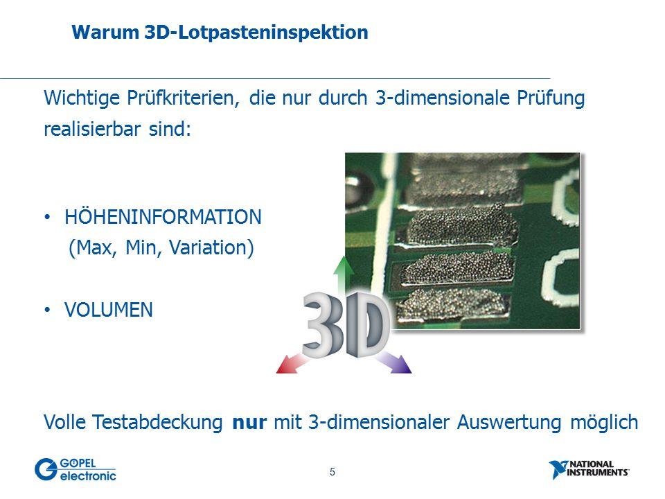 5 No. 5 Warum 3D-Lotpasteninspektion Wichtige Prüfkriterien, die nur durch 3-dimensionale Prüfung realisierbar sind: HÖHENINFORMATION (Max, Min, Varia