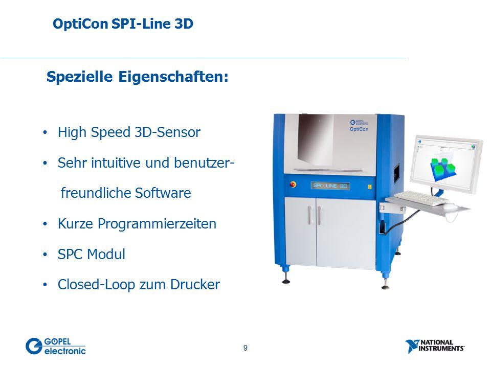 9 No. 9 High Speed 3D-Sensor Sehr intuitive und benutzer- freundliche Software Kurze Programmierzeiten SPC Modul Closed-Loop zum Drucker OptiCon SPI-L