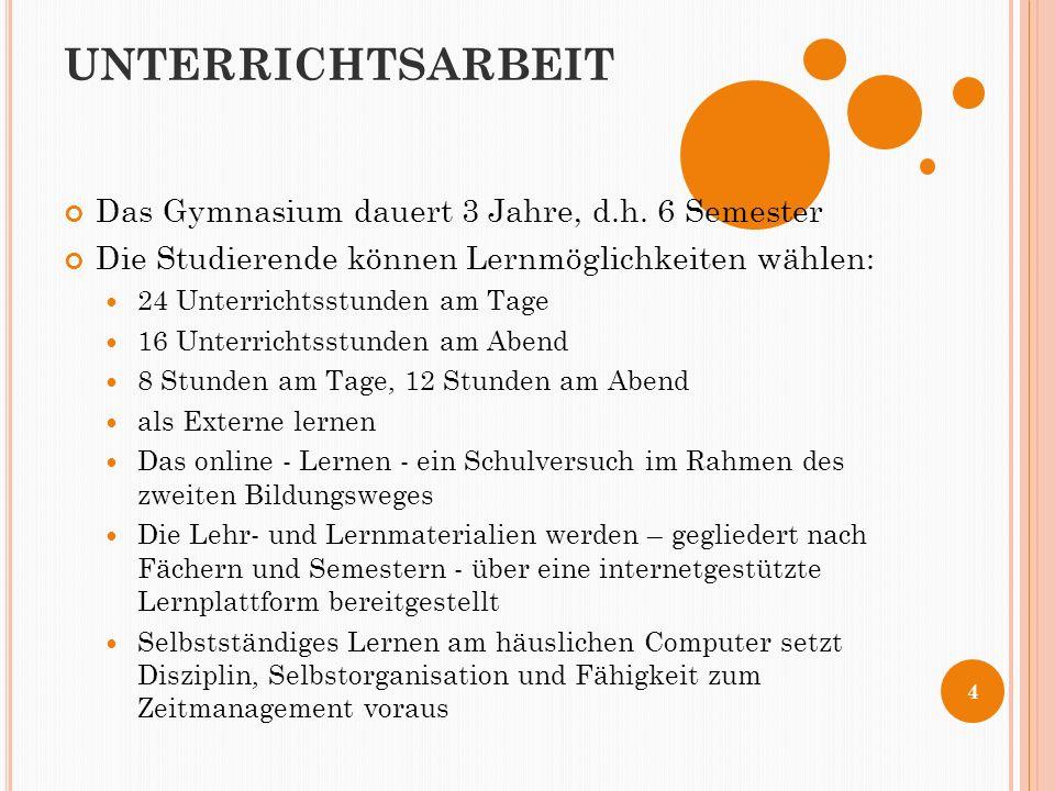 UNTERRICHTSARBEIT Das Gymnasium dauert 3 Jahre, d.h.