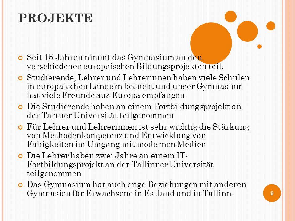 PROJEKTE Seit 15 Jahren nimmt das Gymnasium an den verschiedenen europäischen Bildungsprojekten teil.