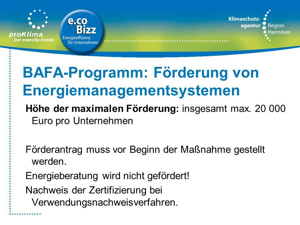 BAFA-Programm: Förderung von Energiemanagementsystemen Höhe der maximalen Förderung: insgesamt max. 20 000 Euro pro Unternehmen Förderantrag muss vor