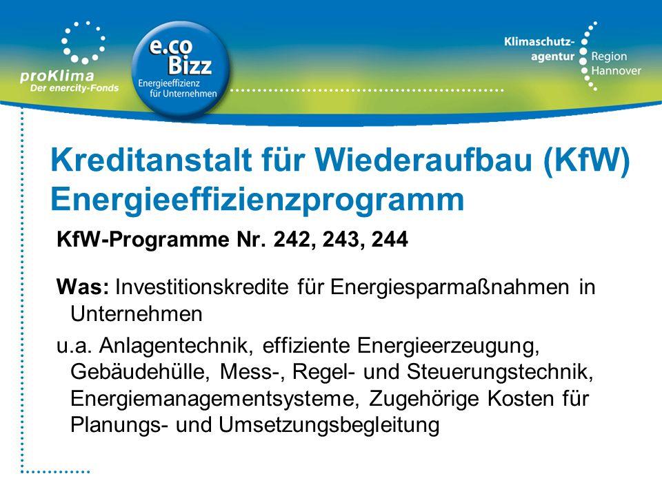 Kreditanstalt für Wiederaufbau (KfW) Energieeffizienzprogramm KfW-Programme Nr. 242, 243, 244 Was: Investitionskredite für Energiesparmaßnahmen in Unt