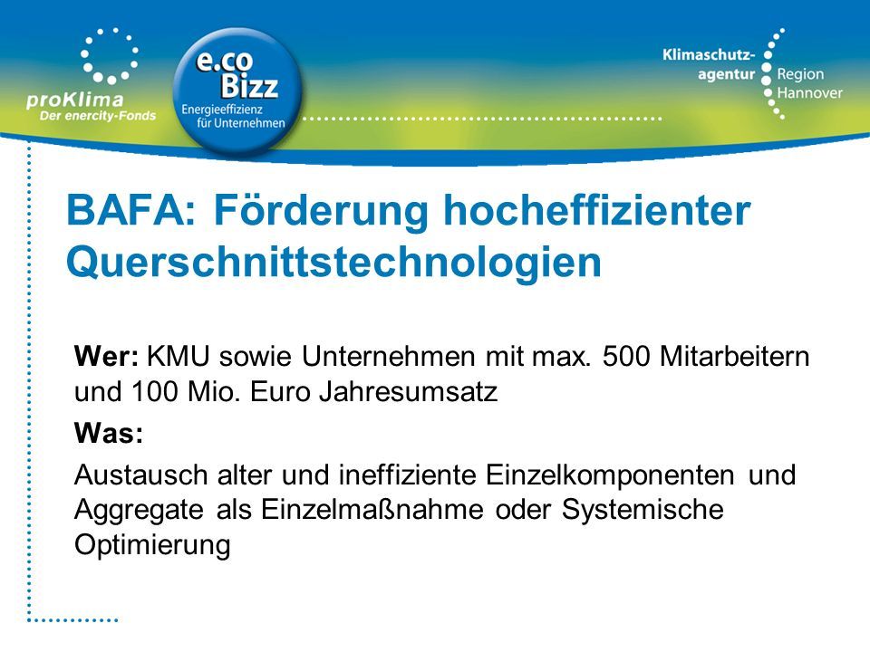 BAFA: Förderung hocheffizienter Querschnittstechnologien Wer: KMU sowie Unternehmen mit max. 500 Mitarbeitern und 100 Mio. Euro Jahresumsatz Was: Aust