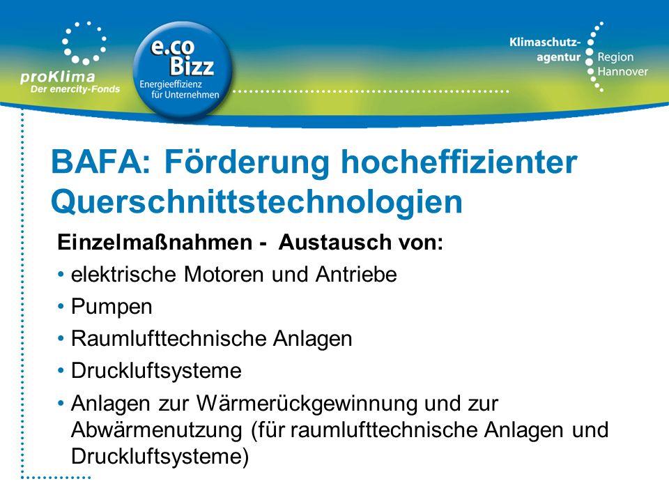 BAFA: Förderung hocheffizienter Querschnittstechnologien Einzelmaßnahmen - Austausch von: elektrische Motoren und Antriebe Pumpen Raumlufttechnische A