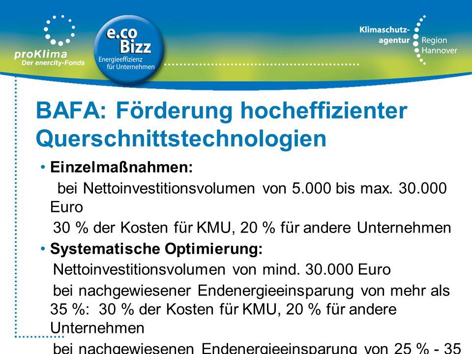 BAFA: Förderung hocheffizienter Querschnittstechnologien Einzelmaßnahmen: bei Nettoinvestitionsvolumen von 5.000 bis max. 30.000 Euro 30 % der Kosten