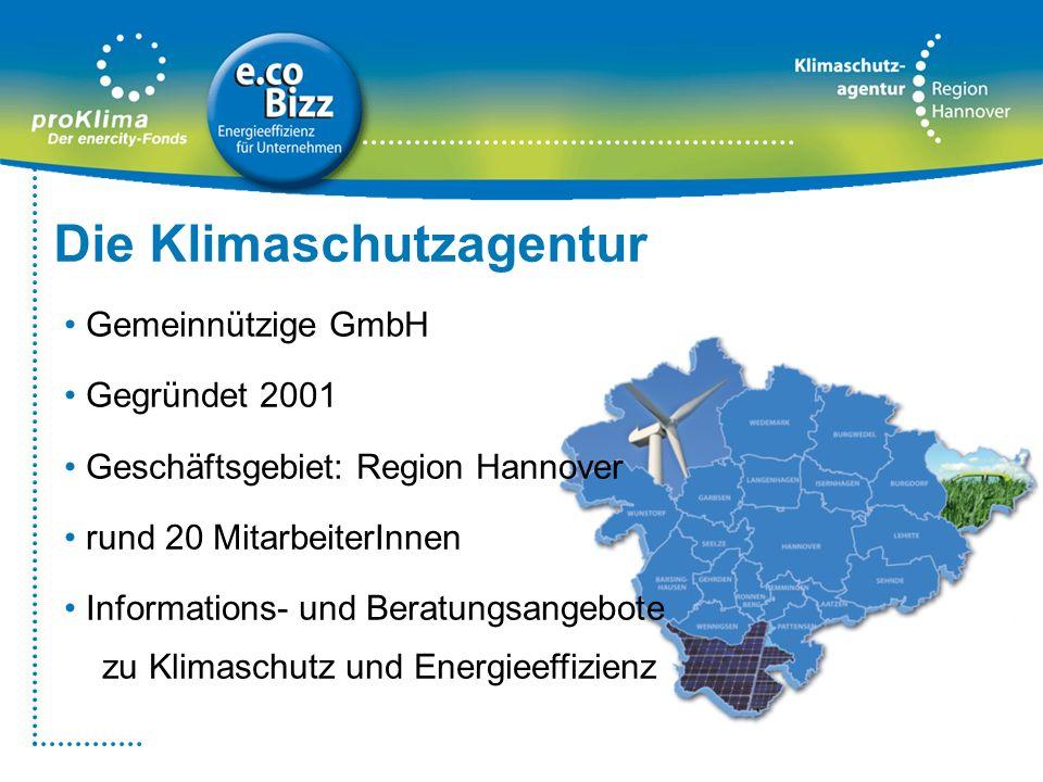 Die Klimaschutzagentur Gemeinnützige GmbH Gegründet 2001 Geschäftsgebiet: Region Hannover rund 20 MitarbeiterInnen Informations- und Beratungsangebote