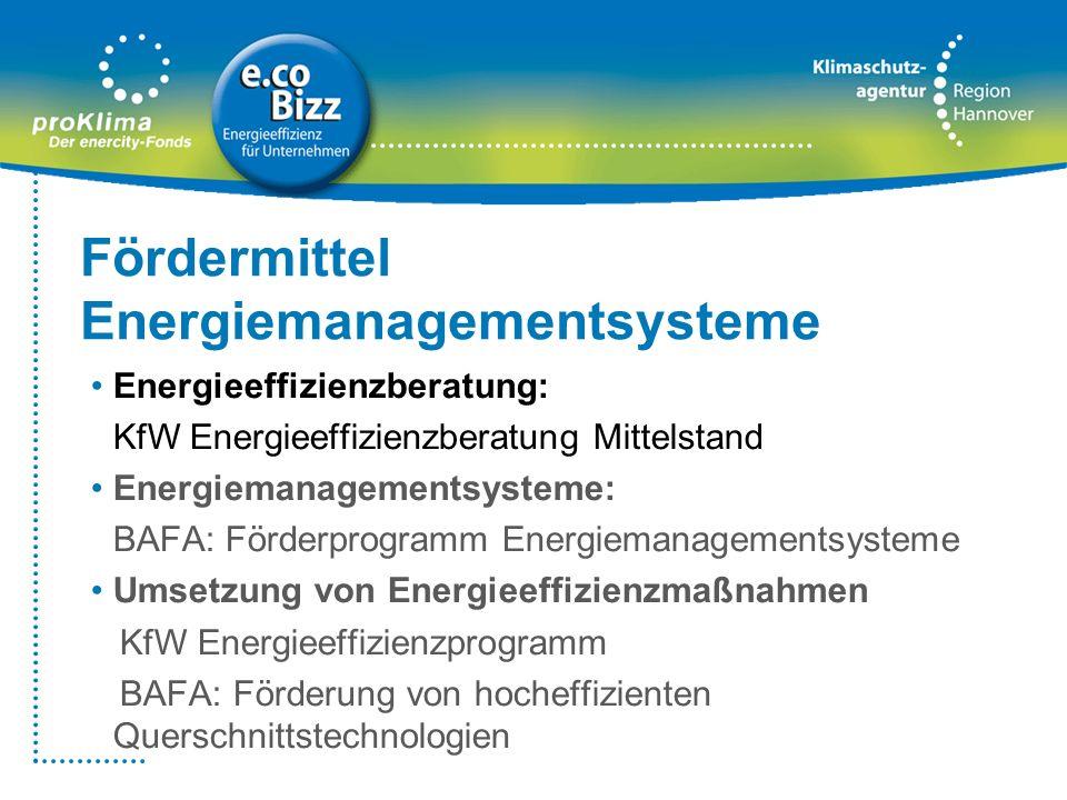 Fördermittel Energiemanagementsysteme Energieeffizienzberatung: KfW Energieeffizienzberatung Mittelstand Energiemanagementsysteme: BAFA: Förderprogram