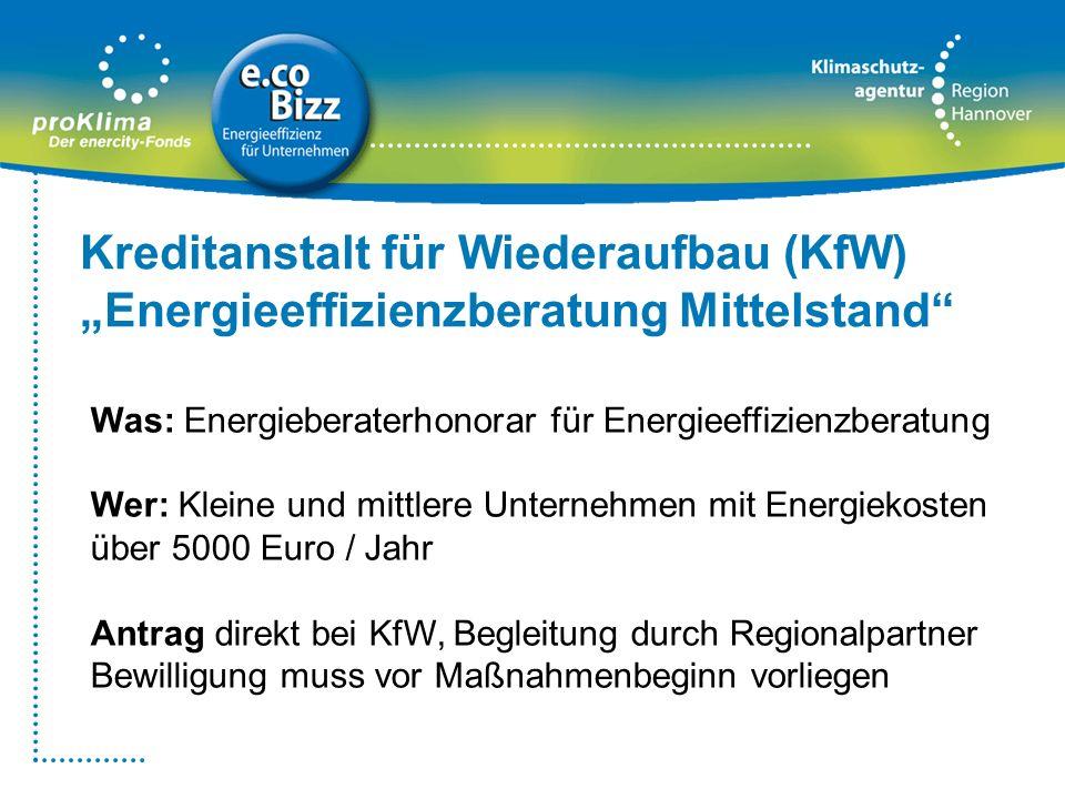 Was: Energieberaterhonorar für Energieeffizienzberatung Wer: Kleine und mittlere Unternehmen mit Energiekosten über 5000 Euro / Jahr Antrag direkt bei