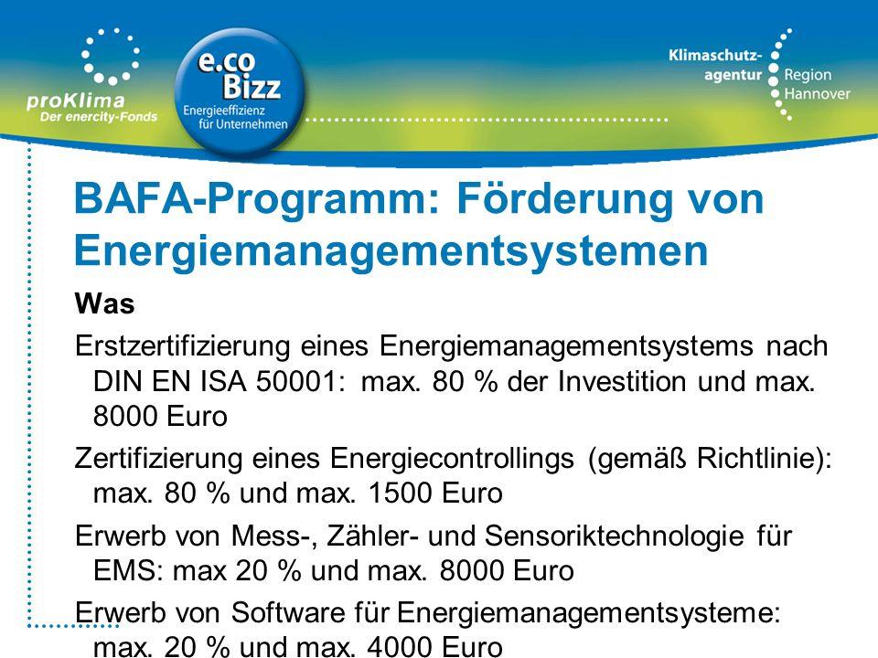 BAFA-Programm: Förderung von Energiemanagementsystemen Was Erstzertifizierung eines Energiemanagementsystems nach DIN EN ISA 50001: max. 80 % der Inve