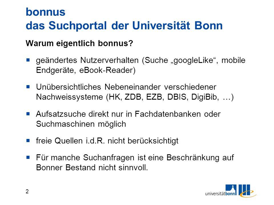 3 bonnus das Suchportal der Universität Bonn Nachweislage vor bonnus