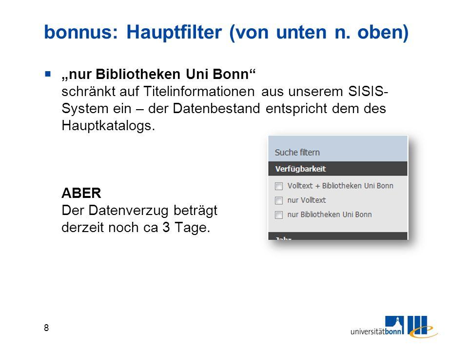 """9 bonnus: Hauptfilter  """"nur Volltext schränkt auf Dokumente ein, bei denen bonnus """"weiß , dass ein Dokument online zugänglich ist."""