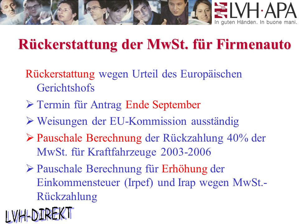 Rückerstattung der MwSt.
