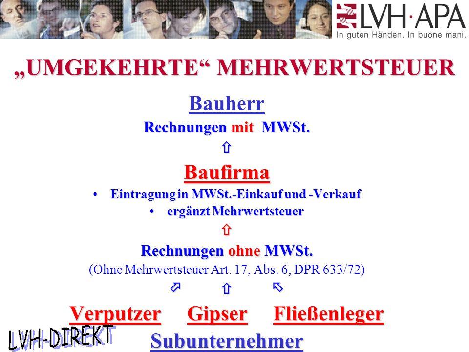 """""""UMGEKEHRTE MEHRWERTSTEUER Bauherr Rechnungen mit MWSt."""
