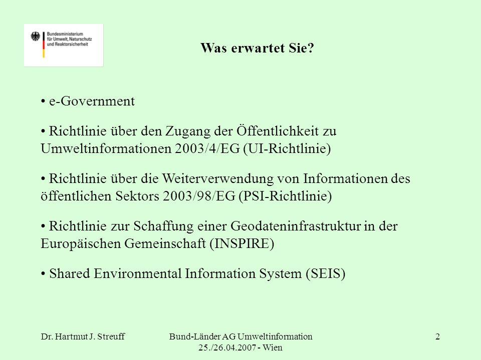 Dr. Hartmut J. StreuffBund-Länder AG Umweltinformation 25./26.04.2007 - Wien 2 Was erwartet Sie.