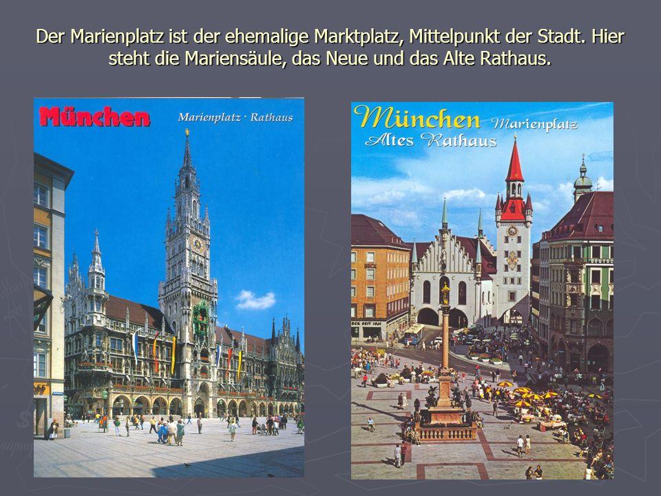 Der Marienplatz ist der ehemalige Marktplatz, Mittelpunkt der Stadt. Hier steht die Mariensäule, das Neue und das Alte Rathaus.