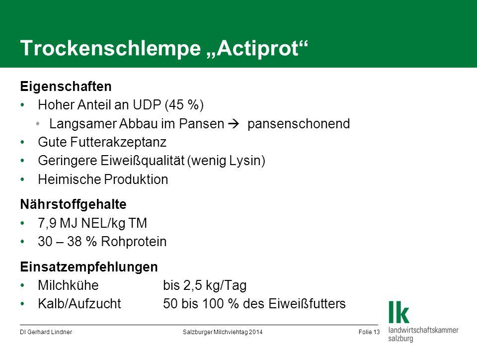 "Trockenschlempe ""Actiprot"" Eigenschaften Hoher Anteil an UDP (45 %) Langsamer Abbau im Pansen  pansenschonend Gute Futterakzeptanz Geringere Eiweißqu"