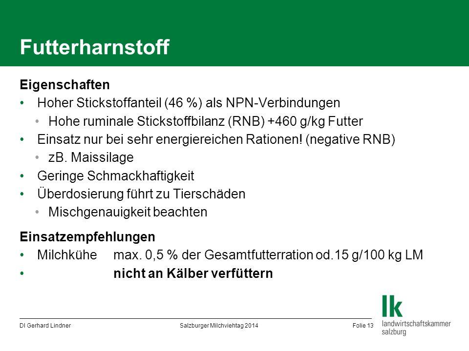 Futterharnstoff Eigenschaften Hoher Stickstoffanteil (46 %) als NPN-Verbindungen Hohe ruminale Stickstoffbilanz (RNB) +460 g/kg Futter Einsatz nur bei