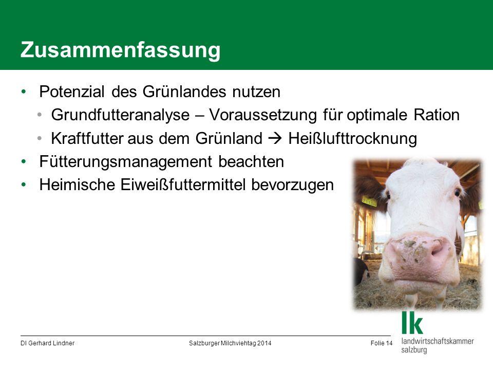Zusammenfassung Potenzial des Grünlandes nutzen Grundfutteranalyse – Voraussetzung für optimale Ration Kraftfutter aus dem Grünland  Heißlufttrocknun