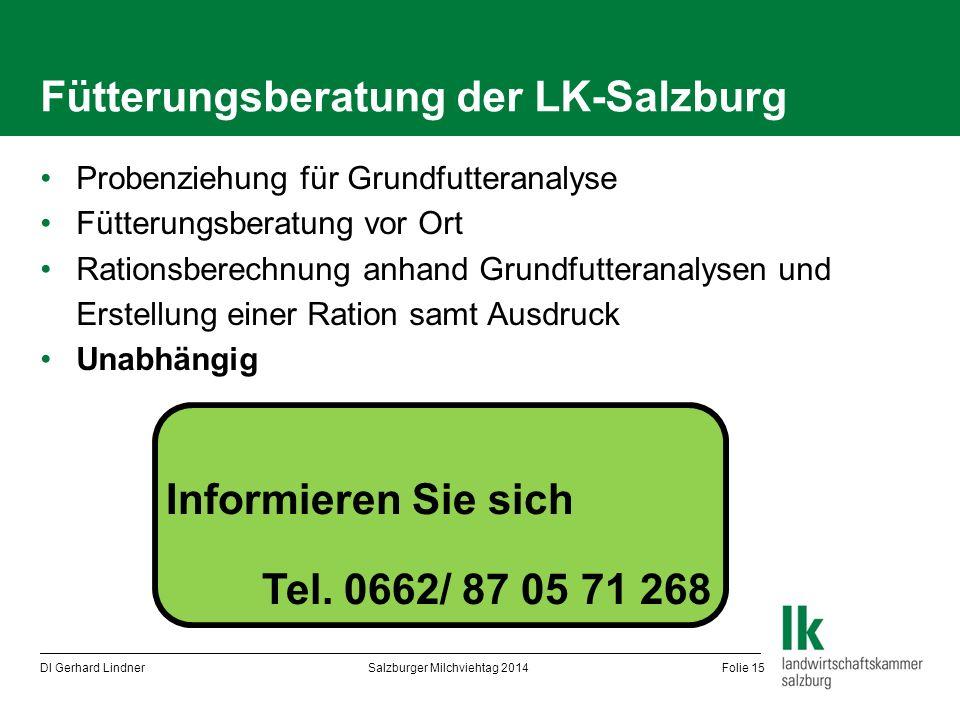 Fütterungsberatung der LK-Salzburg Probenziehung für Grundfutteranalyse Fütterungsberatung vor Ort Rationsberechnung anhand Grundfutteranalysen und Er