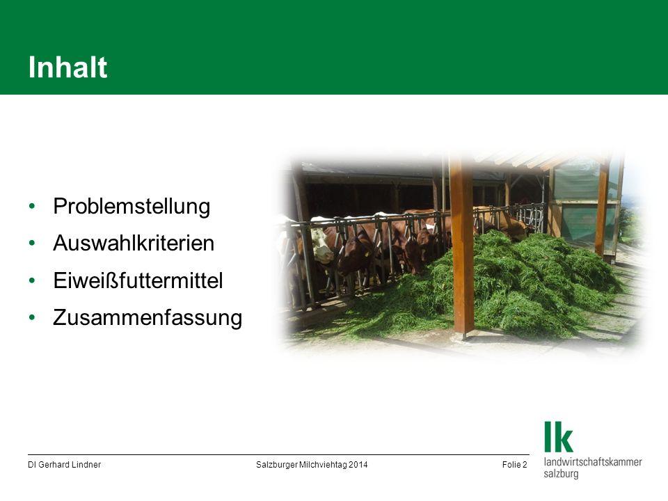 Inhalt Problemstellung Auswahlkriterien Eiweißfuttermittel Zusammenfassung DI Gerhard Lindner Salzburger Milchviehtag 2014 Folie 2