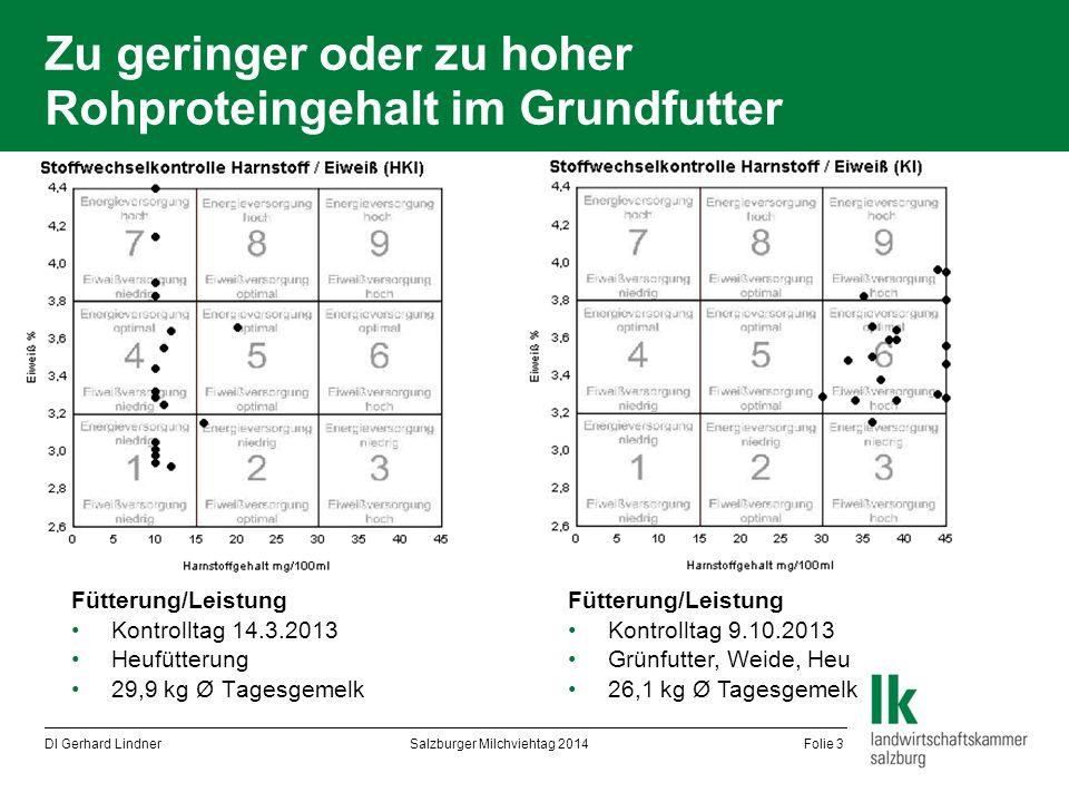 Zu geringer oder zu hoher Rohproteingehalt im Grundfutter Fütterung/Leistung Kontrolltag 14.3.2013 Heufütterung 29,9 kg Ø Tagesgemelk DI Gerhard Lindn