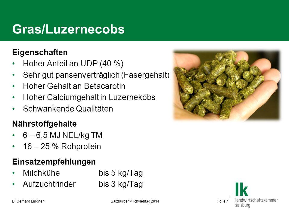 Gras/Luzernecobs Eigenschaften Hoher Anteil an UDP (40 %) Sehr gut pansenverträglich (Fasergehalt) Hoher Gehalt an Betacarotin Hoher Calciumgehalt in