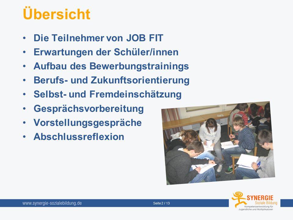 Seite 2 / 13 Übersicht Die Teilnehmer von JOB FIT Erwartungen der Schüler/innen Aufbau des Bewerbungstrainings Berufs- und Zukunftsorientierung Selbst