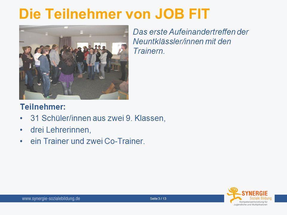 Seite 3 / 13 Die Teilnehmer von JOB FIT Das erste Aufeinandertreffen der Neuntklässler/innen mit den Trainern. Teilnehmer: 31 Schüler/innen aus zwei 9