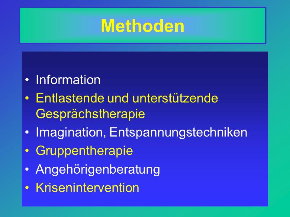 Methoden Information Entlastende und unterstützende Gesprächstherapie Imagination, Entspannungstechniken Gruppentherapie Angehörigenberatung Krisenintervention