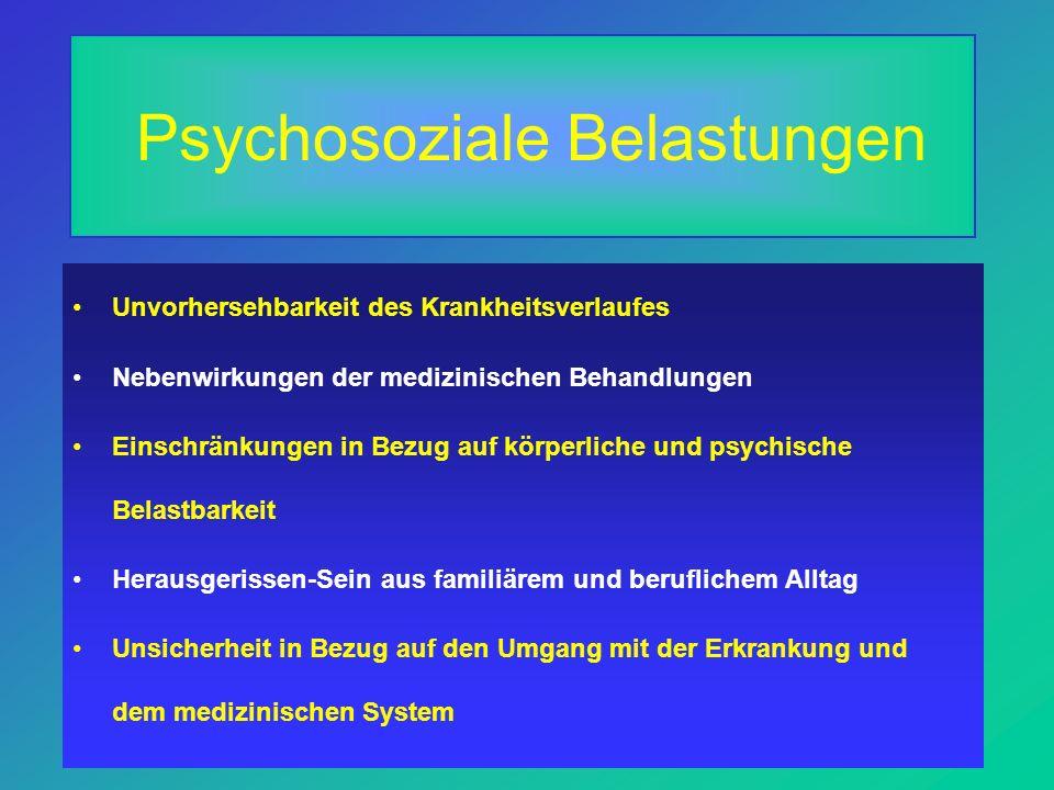 Psychosoziale Belastungen Unvorhersehbarkeit des Krankheitsverlaufes Nebenwirkungen der medizinischen Behandlungen Einschränkungen in Bezug auf körperliche und psychische Belastbarkeit Herausgerissen-Sein aus familiärem und beruflichem Alltag Unsicherheit in Bezug auf den Umgang mit der Erkrankung und dem medizinischen System