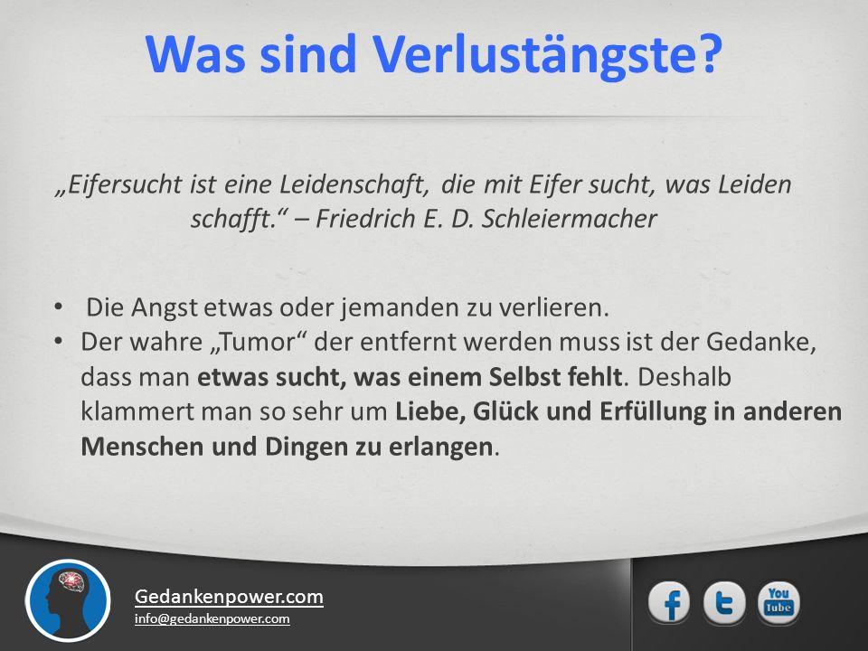 Gedankenpower.com info@gedankenpower.com Anzeichen von Verlustängsten Das Klammern an etwas bzw.
