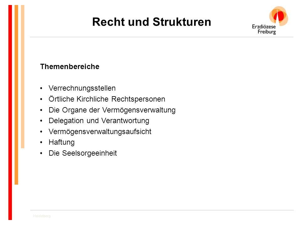 Heidelberg Recht und Strukturen Themenbereiche Verrechnungsstellen Örtliche Kirchliche Rechtspersonen Die Organe der Vermögensverwaltung Delegation un