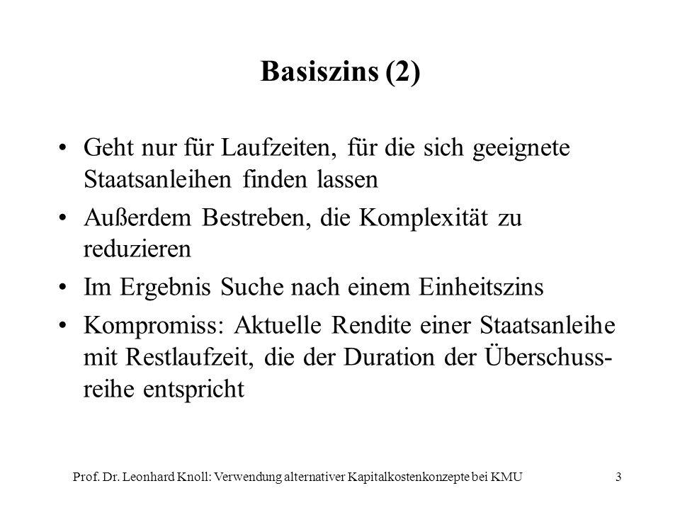 Basiszins (2) Geht nur für Laufzeiten, für die sich geeignete Staatsanleihen finden lassen Außerdem Bestreben, die Komplexität zu reduzieren Im Ergebn